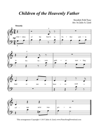 Thumbnail of first page of Children of the Heavenly Father (Lvl 1) piano sheet music PDF by Swedish Folk Tune.