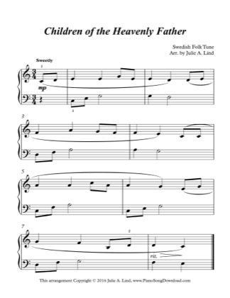 Thumbnail of first page of Children of the Heavenly Father (Lvl 2) piano sheet music PDF by Swedish Folk Tune.