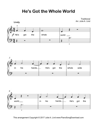 Thumbnail of first page of He's Got The Whole World piano sheet music PDF by Kids (Lvl 1).