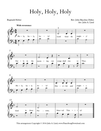 Thumbnail of first page of Holy, Holy, Holy piano sheet music PDF by Kids (Lvl 1).