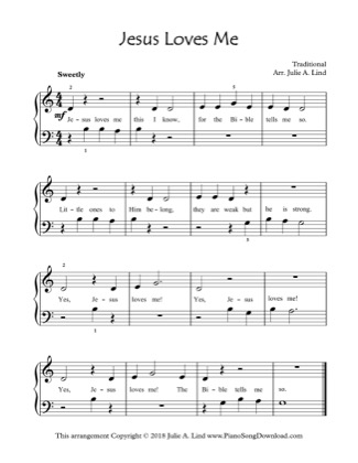 Thumbnail of first page of Jesus Loves Me piano sheet music PDF by Kids (Lvl 1).