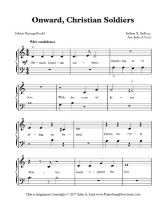 Thumbnail of first page of Onward, Christian Soldiers piano sheet music PDF by Kids (Lvl 1).