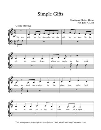 Thumbnail of first page of Simple Gifts piano sheet music PDF by Kids (Lvl 1).