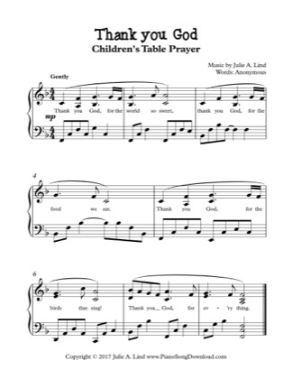 Thumbnail of first page of Thank You God piano sheet music PDF by Kids Table Prayer.