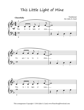 Thumbnail of first page of This Little Light of Mine (Lvl 2) piano sheet music PDF by Hymn.