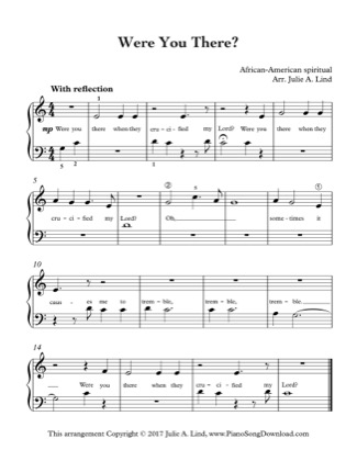 Thumbnail of first page of Were You There? (Kids) piano sheet music PDF by African American Spiritual.