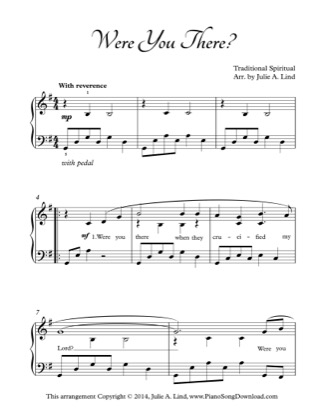Thumbnail of first page of Were You There? piano sheet music PDF by African American Spiritual.