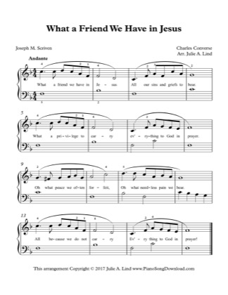 Thumbnail of first page of What A Friend We Have in Jesus piano sheet music PDF by Charles Convers.