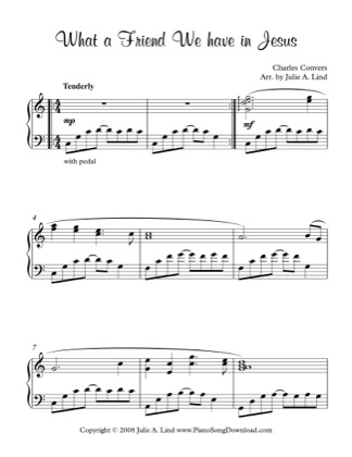 Thumbnail of first page of What A Friend We Have in Jesus (2) piano sheet music PDF by Charles Convers.