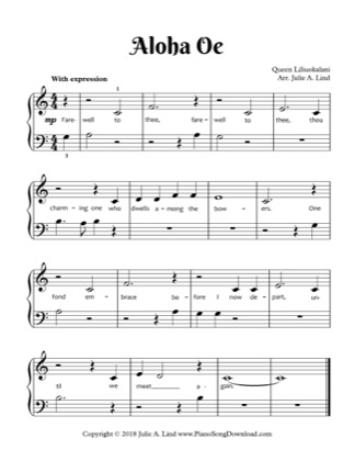 Thumbnail of first page of Aloha Oe piano sheet music PDF by Queen Liliuokalani.