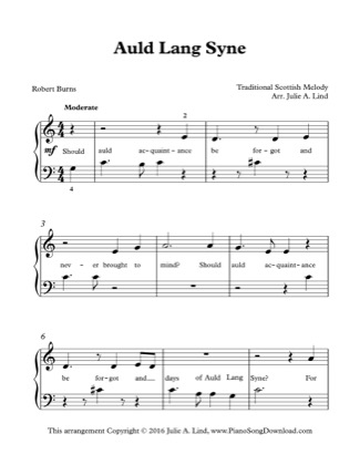 Thumbnail of first page of Auld Lang Syne (New Years Eve) piano sheet music PDF by Kids Traditional.