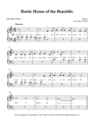 Thumbnail of first page of Battle Hymn of the Republic piano sheet music PDF by Kids (Lvl 1).