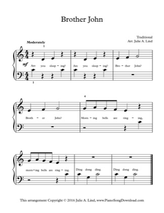Thumbnail of first page of Brother John piano sheet music PDF by Kids (Lvl 1).
