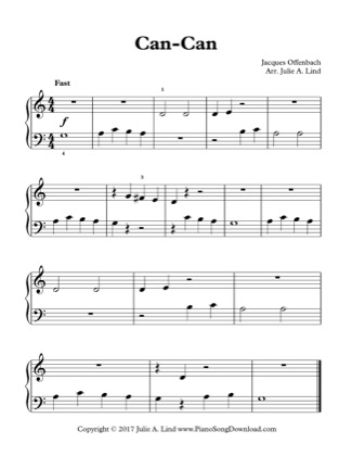 Thumbnail of first page of Can-Can piano sheet music PDF by Kids (Lvl 1).