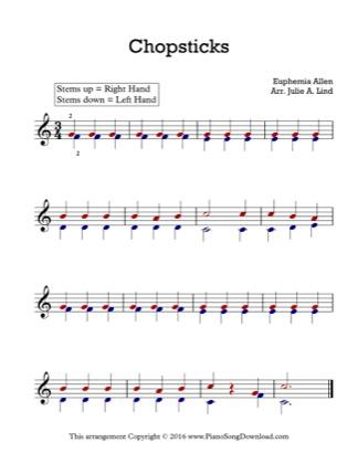 Thumbnail of first page of Chopsticks piano sheet music PDF by Kids (Lvl 1).