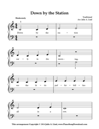 Thumbnail of first page of Down by the Station piano sheet music PDF by Nursery Rhyme.