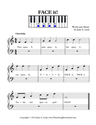 Thumbnail of first page of FACE it! piano sheet music PDF by Kids (Lvl 1).