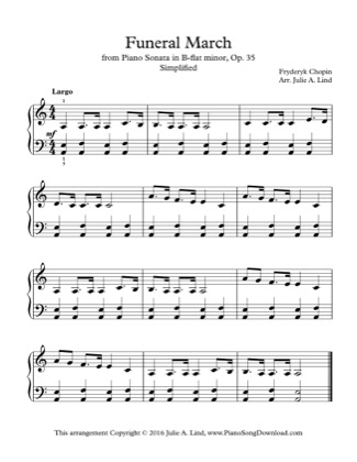 Thumbnail of first page of Funeral March, simplified piano sheet music PDF by Kids (Lvl 3).