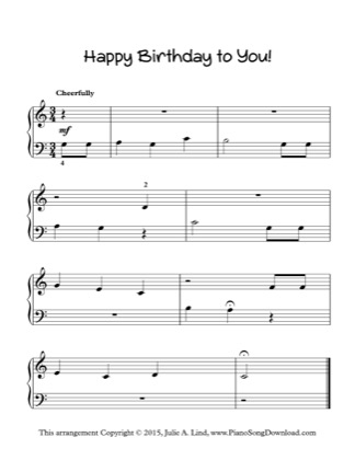 Thumbnail of first page of Happy Birthday to You! piano sheet music PDF by Kids (Lvl 1).
