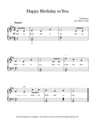 Thumbnail of first page of Happy Birthday to You! piano sheet music PDF by Kids (Lvl 2).