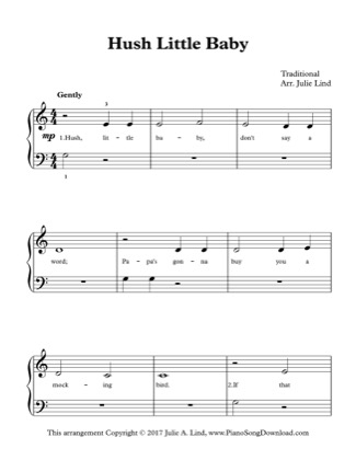 Thumbnail of first page of Hush Little Baby piano sheet music PDF by Kids (Lvl 1).