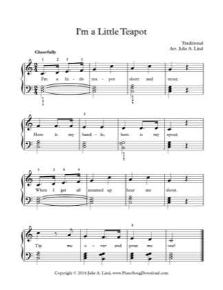 Thumbnail of first page of I'm a Little Teapot piano sheet music PDF by Kids (Lvl 2).