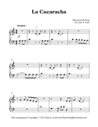 Thumbnail of first page of La Cucaracha piano sheet music PDF by Kids (Lvl 1).