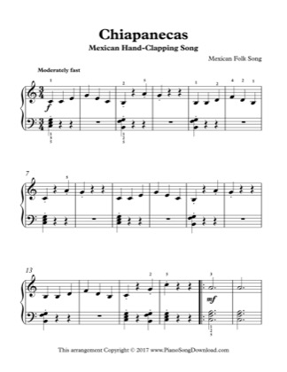 Thumbnail of first page of Mexican Hand-Clapping Song piano sheet music PDF by Kids (Lvl 3).