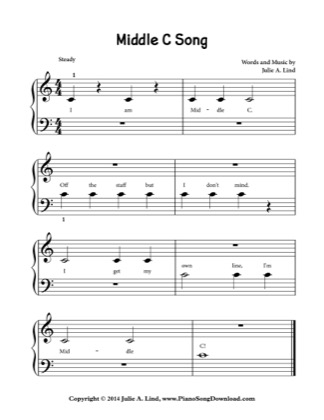 Thumbnail of first page of Middle C Song piano sheet music PDF by Kids (Lvl 1).