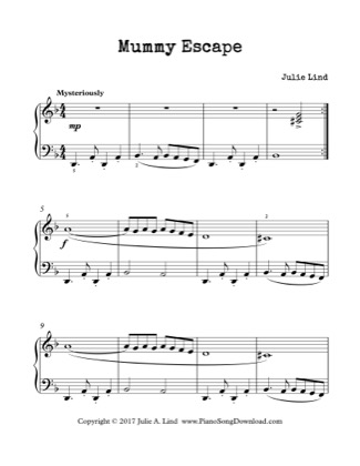 Thumbnail of first page of Mummy Escape piano sheet music PDF by Kids (Lvl 3).