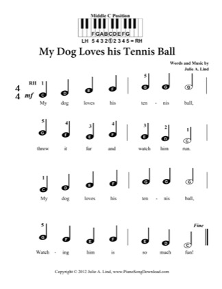 Thumbnail of first page of My Dog Loves his Tennis Ball piano sheet music PDF by Kids (Pre Staff).