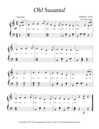 Thumbnail of first page of Oh Susanna piano sheet music PDF by Kids (Lvl 2).
