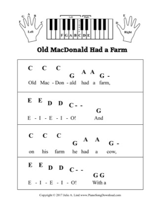 Thumbnail of first page of Old MacDonald Had a Farm piano sheet music PDF by Kids (Pre Staff).