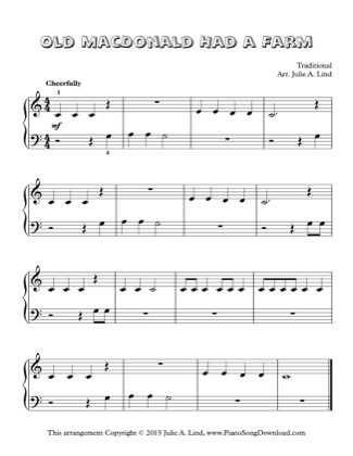 Thumbnail of first page of Old MacDonald Had a Farm piano sheet music PDF by Kids (Lvl 1).