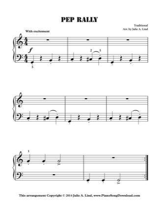 Thumbnail of first page of Pep Rally piano sheet music PDF by Kids (Lvl 1).