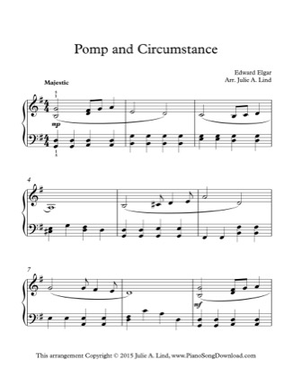 Thumbnail of first page of Pomp and Circumstance piano sheet music PDF by Kids (Lvl 3).