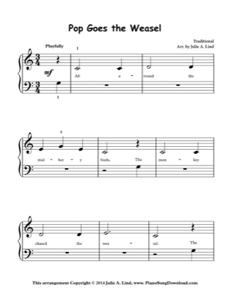 Thumbnail of first page of Pop Goes the Weasel piano sheet music PDF by Kids (Lvl 1).
