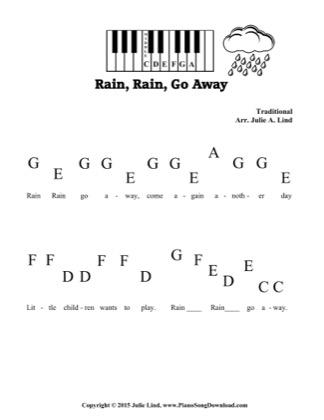 Thumbnail of first page of Rain, Rain, Go Away piano sheet music PDF by Kids (Pre Staff).