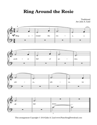 Thumbnail of first page of Ring Around the Rosie piano sheet music PDF by Kids (Lvl 1).