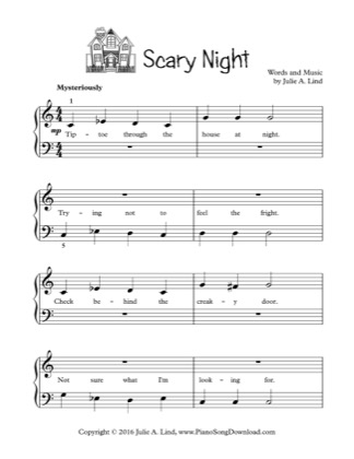 Thumbnail of first page of Scary Night piano sheet music PDF by Kids (Lvl 1).