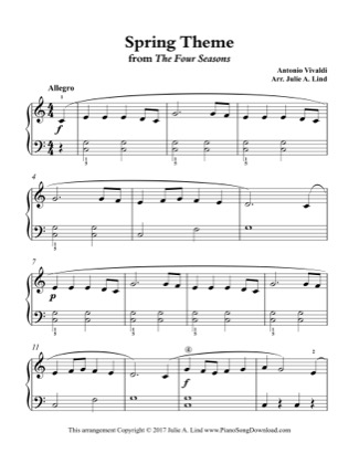 Thumbnail of first page of Spring Theme (simplified) piano sheet music PDF by Kids (Lvl 2).