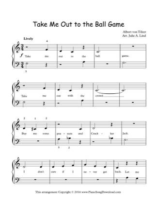 Thumbnail of first page of Take Me Out to the Ball Game piano sheet music PDF by Kids (Lvl 1).