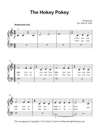 Thumbnail of first page of The Hokey Pokey piano sheet music PDF by Kids (Lvl 1).