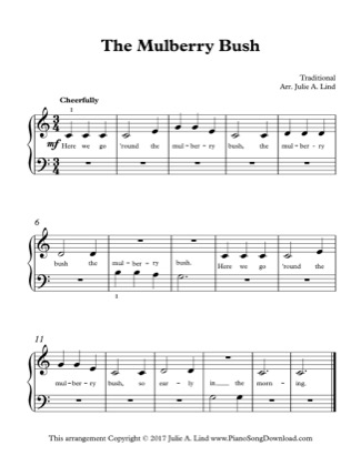 Thumbnail of first page of The Mulberry Bush piano sheet music PDF by Kids (Lvl 1).