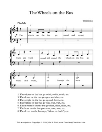 Thumbnail of first page of The Wheels on the Bus piano sheet music PDF by Kids (Lvl 1).