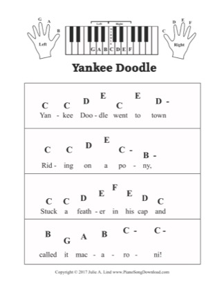 Thumbnail of first page of Yankee Doodle piano sheet music PDF by Kids (Pre Staff).