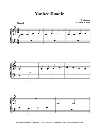 Thumbnail of first page of Yankee Doodle piano sheet music PDF by Kids (Lvl 1).