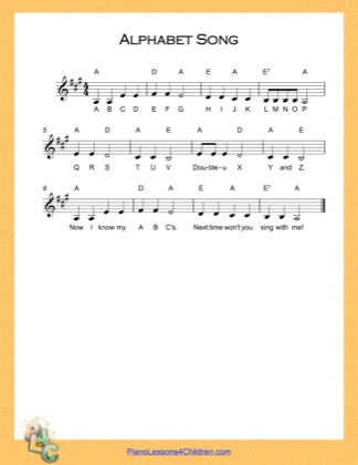 Thumbnail of first page of Alphabet Song (A Major) piano sheet music PDF by English Alphabet.