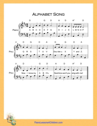 Thumbnail of first page of Alphabet Song  (D Major) piano sheet music PDF by English Alphabet.