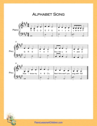 Thumbnail of first page of Alphabet Song Very Easy  (A Major) piano sheet music PDF by English Alphabet.
